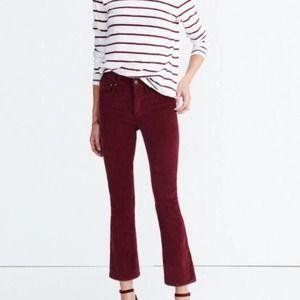 Madewell Cali Demi-Boot Red Corduroy Pants Size 26